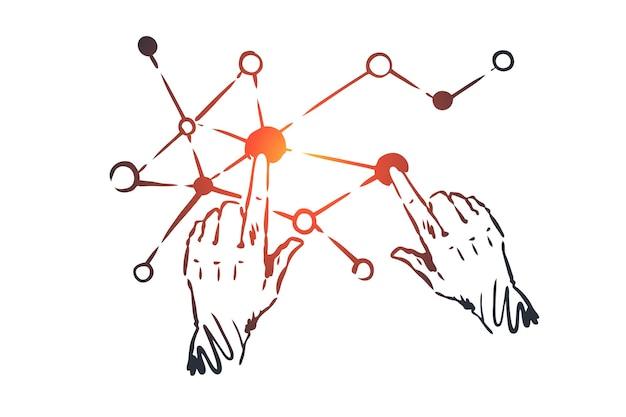 기술, 과학, 커뮤니케이션, 디지털, 인터페이스 개념. 손으로 그린 인간의 손과 화면 연결 개념 스케치.