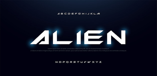 Technology science future modern alphabet font