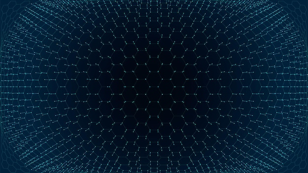 Технологии науки шестиугольник сетки линий каркас поверхности абстрактный фон