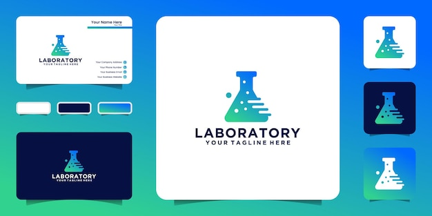 Technology scientific research logo and business card inspiration