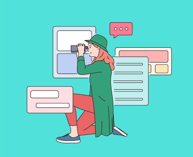 テクノロジー、検索システム、インターネットテクノロジー。双眼鏡を探しているヨン幸せな女性。インターネットの閲覧、データ情報の検索。