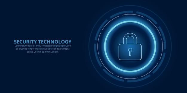 Технологическая безопасность сети и защита данных дизайн фона