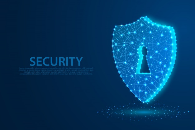 Technology security symbol with blue background, a keyhole symbol composed of polygons