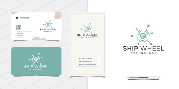 テクノロジー船のステアリングホイールのロゴデザインと名刺