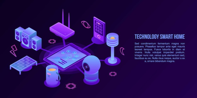 Technology smart home concept banner, isometric style