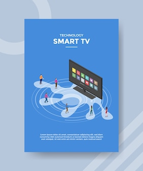 Technology smart tv people standing front television