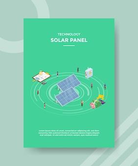 お金のチャートの周りに立っている技術ソーラーパネルpeolpe