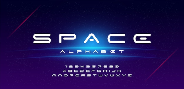 Technology space font and alphabet