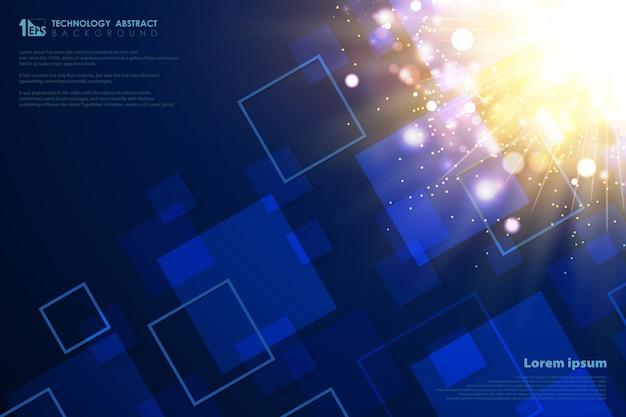 テクノロジー未来的なゴールドの光フレアの正方形の背景