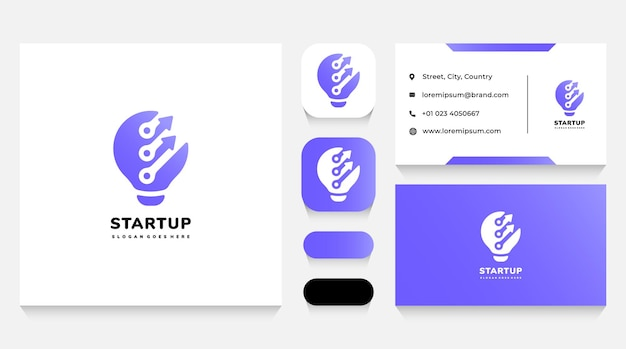 Technology startup idea logo template and business card