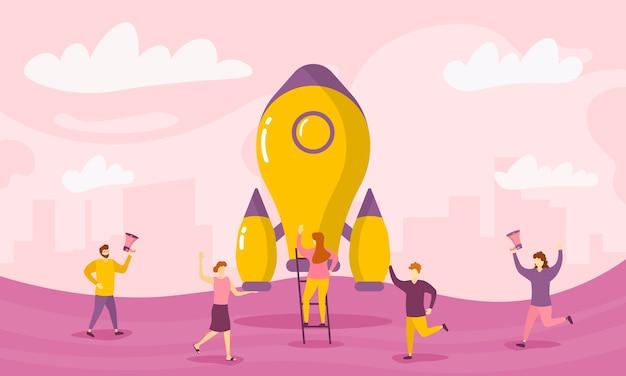 テクノロジースタートアップ製品は、小さな人々のキャラクターのコンセプトを発表します。起業コンセプト。成功したスタートアップを祝うビジネスマンのグループ。