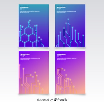 Technology style brochure set