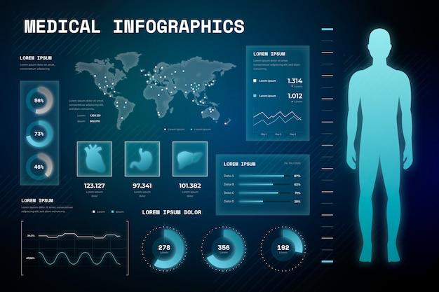技術スタイルの医療インフォグラフィック