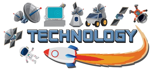 Technology text icon with elements
