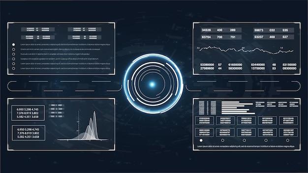 テクノロジーuiの未来的なコンセプトのhudインターフェース