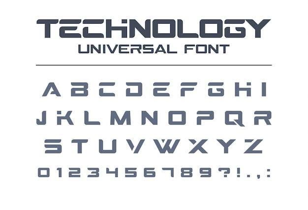 Технология универсального шрифта. геометрический, спортивный, футуристический, будущий техно алфавит. буквы и цифры для военных, промышленных, электрических гоночных логотипов. современный минималистичный шрифт