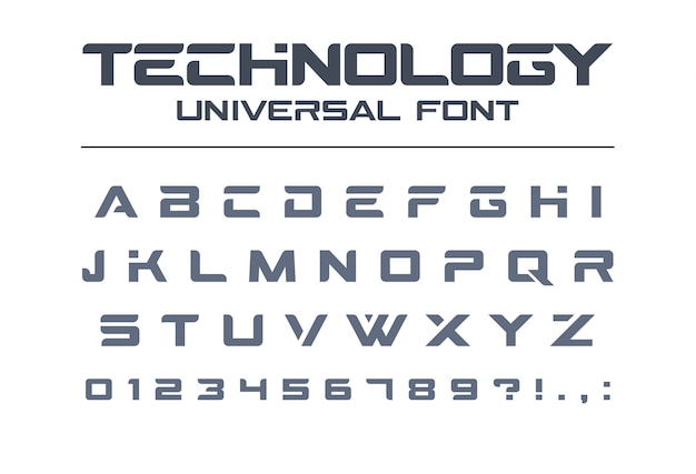 Technology universal font. geometric, sport, futuristic, future techno alphabet. letters and numbers for military, industrial, electric car racing logo . modern minimalistic  typeface