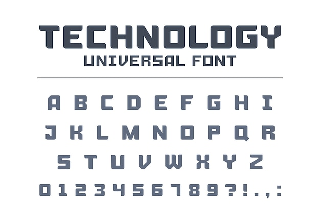 Technology universal poster font type. strong, construction, engineering, techno alphabet. letters, numbers typeset for military, industrial logo . modern minimalistic  tech typeface