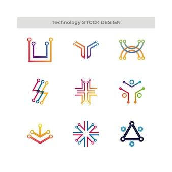 Technology vector logo set for corporate identity. Network, Internet Design element.