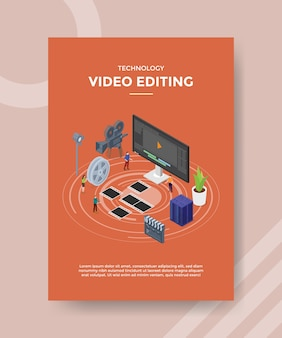 Technology video editing flyer template