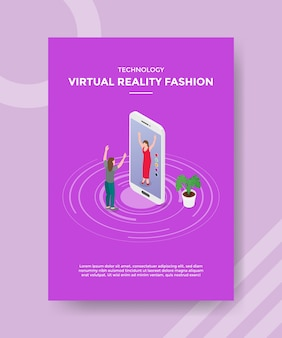 Technology virtual reality fashion women exited front big smartphone