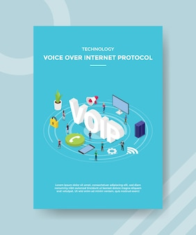 Technology voice over internet protocol people standing around voip for template of banner and flyer