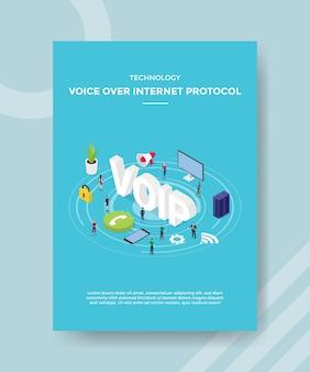 Технологии передачи голоса по интернет-протоколу люди, стоящие вокруг voip для шаблона баннера и флаера