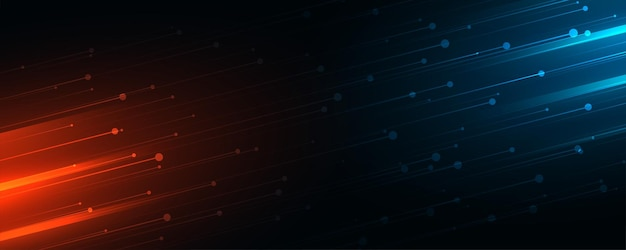 Banner web tecnologico con strisce di luci blu e rosse