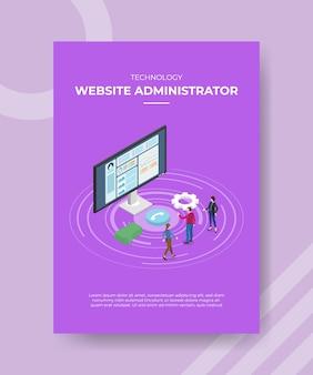 Amministratore del sito web di tecnologia persone in piedi sul monitor anteriore della bolla del computer