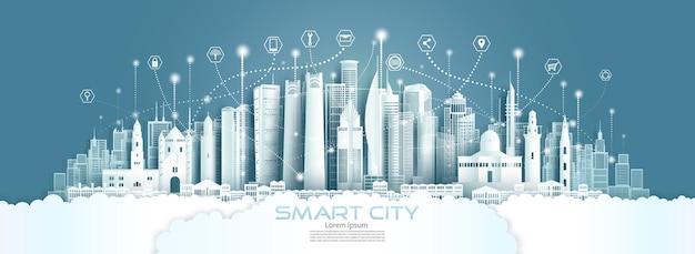 テクノロジーワイヤレスネットワーク通信、ペーパーカットスタイルのイスラエルのスマートシティ