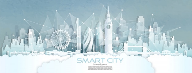 Technology wireless network communication smart city with architecture in england.