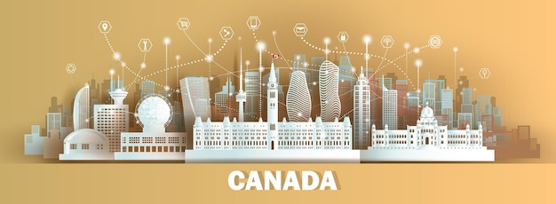 ペーパーカットスタイルのカナダの建築と技術無線ネットワーク通信スマートシティ