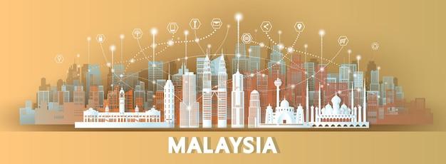 ペーパーカットスタイルのマレーシアの建築と技術無線ネットワーク通信スマートシティ