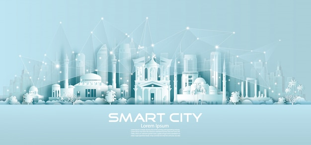 Technology wireless network communication smart city with architecture in jordan.