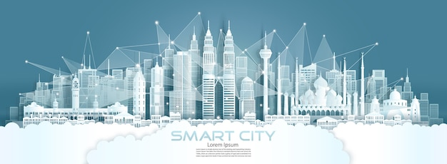 Technology wireless network communication smart city with architecture in malaysia at asia downtown skyline