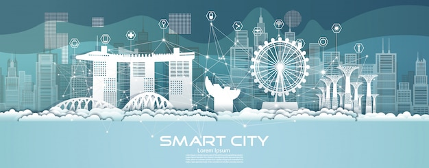 Technology wireless network communication smart city with architecture in singapore.