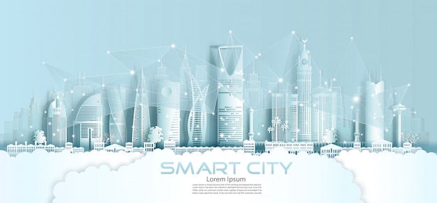 Technology wireless network communication smart city with architecture.
