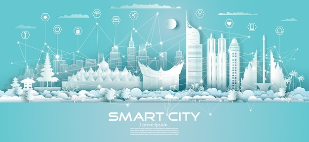 青い背景、未来的な緑の街とパノラマビューのインドネシアのダウンタウンの超高層ビルのアイコンとテクノロジーワイヤレスネットワーク通信スマートシティ。