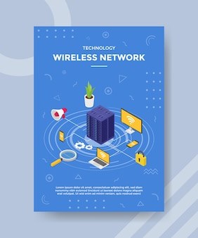 Technology wireless network server connecting device computer smartphone laptop for template of banner and flyer