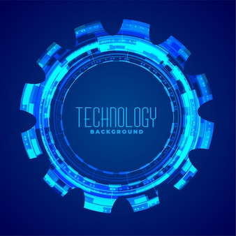 Technology with glowing gear blue design