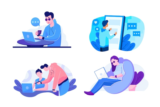 Technology and work illustration set for landing page