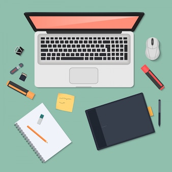 Technology workplace organization top view
