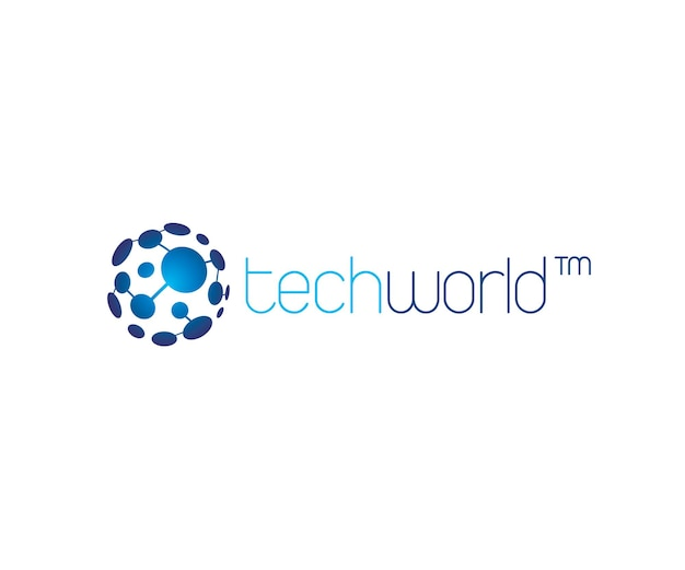 Technology world digital and internet links globe logo