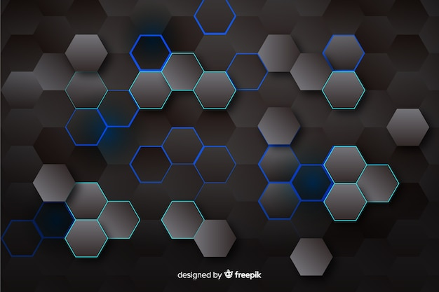 Technologycal hexagonal background in dark colors
