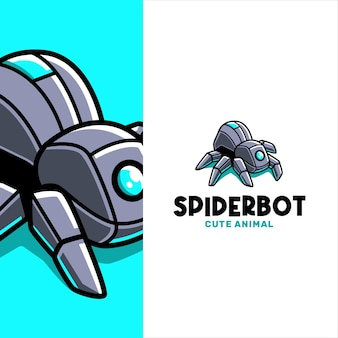 Techy crawling spider bot logo template
