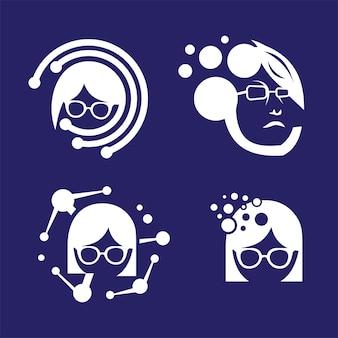 Tecnology communication logo set on blue background