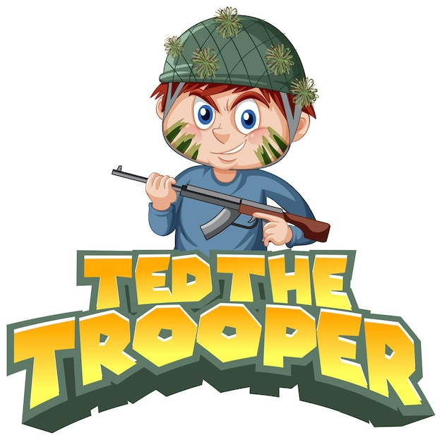 소총을 들고 있는 소년과 함께 ted the trooper 로고 텍스트 디자인