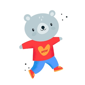 Teddy bear baby animal in red hoodie with heart. i love my mom