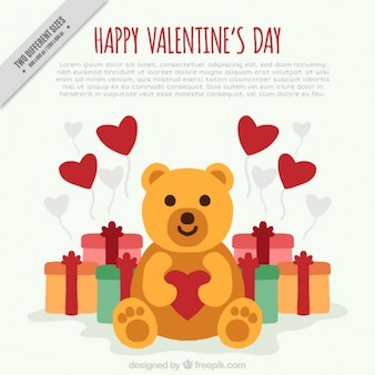 Teddy bear background with gifts