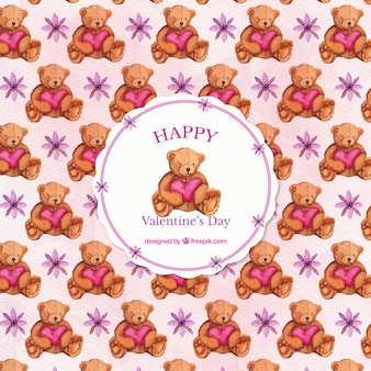 Teddy bear background with watercolor heart